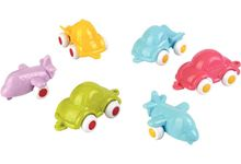 Baril de 20 mini véhicules Baby Viking toys, couleurs pastel assorties, 7 cm