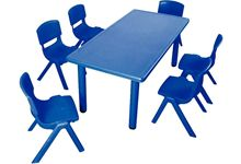 Table en plastique 90x45x48cm 6 places bleue.