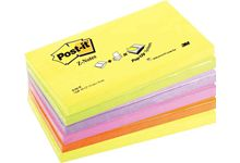 Lot de 6 blocs z-notes repositionnables 76 x 127 mm, couleurs néon assorties.