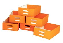 Lot de 6 grands bacs en carton oranges.