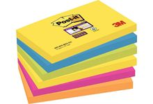 Paquet de 6 blocs de 90 feuilles Super Sticky post-it, 76 x 127 mm, couleurs Rio de Janeiro : jaune, turquoise, vert, rose néon et orange