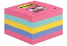 Cube de 440 feuilles de notes post-it super sticky 76 x 76 mm couleurs : rose, bleu océan, jaune et bleu pervenche
