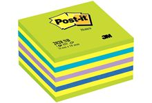 Cube de 450 feuilles de notes post-it repositionnables 76 x 76 mm néon bleu, vert, violet et jaune