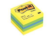 Mini cube post-it de 400 feuilles notes repositionnables, 51 x 51 mm, couleurs assorties