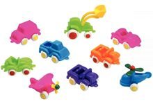 Lot de 12 mini véhicules Baby Viking toys, couleurs fluo assorties, 7 cm