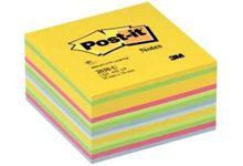 Cube de 450 feuilles de notes post-it repositionnables 76 x 76 mm couleurs assorties