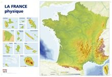 Carte de France physique. Dimensions : 1,20x0.80 mètre