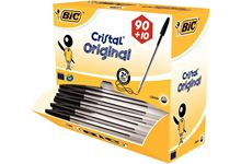 Pack 90+10 stylos bille Bic Cristal jetable pointe moyenne noirs
