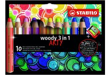Etui 10 crayons de couleur woody arty + taille cra