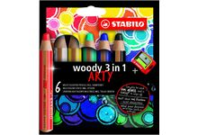 Etui 6 crayons de couleur woody arty + taille cray